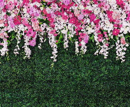 Flower Grass Wall Photo Booth Backdrop
