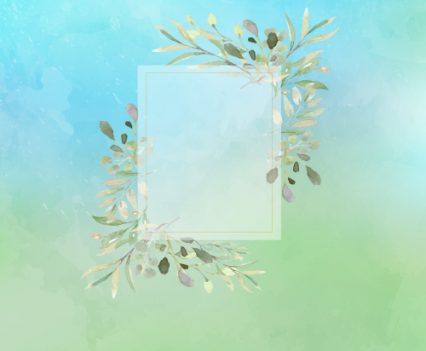 Artistic Photo Booth Backdrop with green and blue watercolors with soft greenery