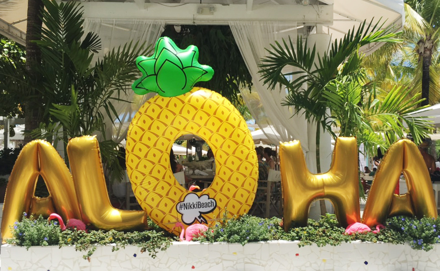 aloha swimweek photo booth prop at nikki beach