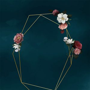 Artistic Photo Booth Backdrop with dark background, gold geometric frame & florals